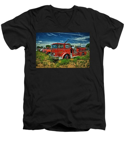Men's V-Neck T-Shirt featuring the photograph Generations Of Fire Fighting Equipment by Ken Smith