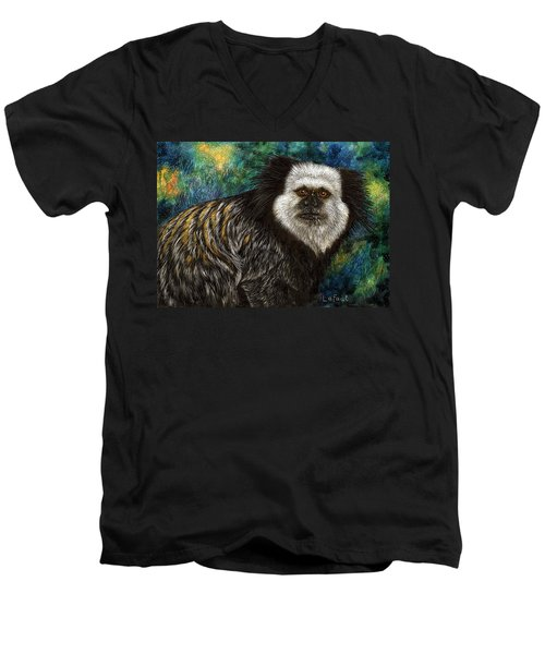 Men's V-Neck T-Shirt featuring the drawing Geoffrey's Marmoset by Sandra LaFaut