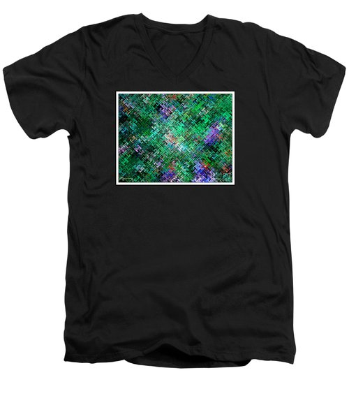 Men's V-Neck T-Shirt featuring the digital art Geometric Abstract by Mariarosa Rockefeller