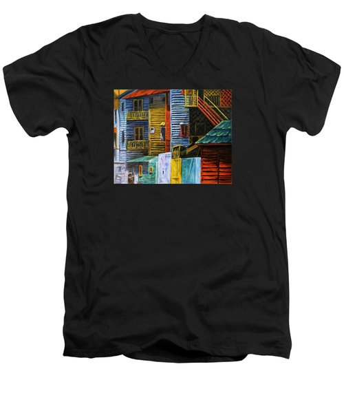 Men's V-Neck T-Shirt featuring the painting Geometric Colours I by Xueling Zou