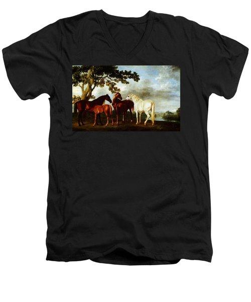 Horses Men's V-Neck T-Shirt by George Stubbs