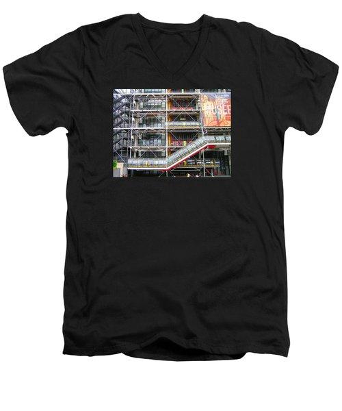Georges Pompidou Centre Men's V-Neck T-Shirt by Oleg Zavarzin