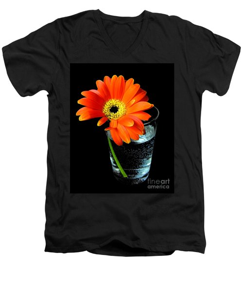Men's V-Neck T-Shirt featuring the photograph Gerbera Daisy In Glass Of Water by Nina Ficur Feenan