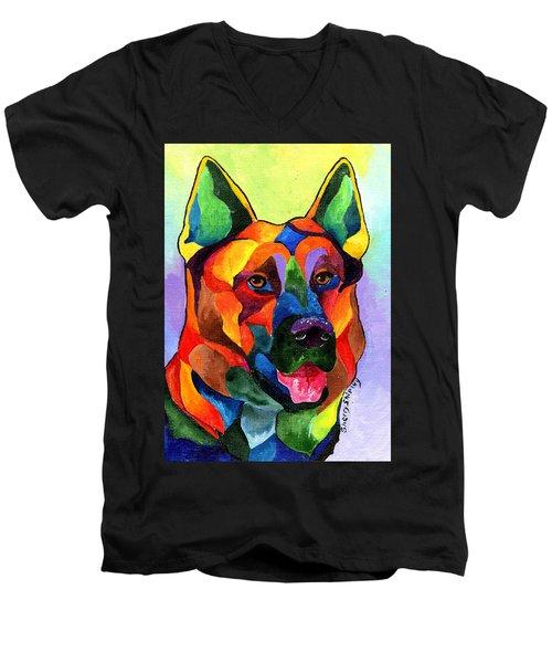 German Shepherd Men's V-Neck T-Shirt by Sherry Shipley