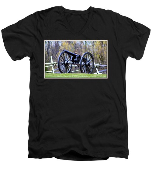 Men's V-Neck T-Shirt featuring the photograph Gettysburg Battlefield Cannon by Patti Whitten