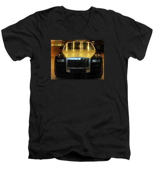 Men's V-Neck T-Shirt featuring the photograph Rolls Royce Ghost by Salman Ravish