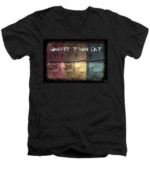 Men's V-Neck T-Shirt featuring the photograph Ghost Town Cat by Absinthe Art By Michelle LeAnn Scott