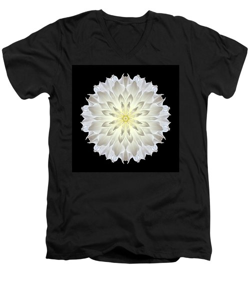 Giant White Dahlia Flower Mandala Men's V-Neck T-Shirt by David J Bookbinder