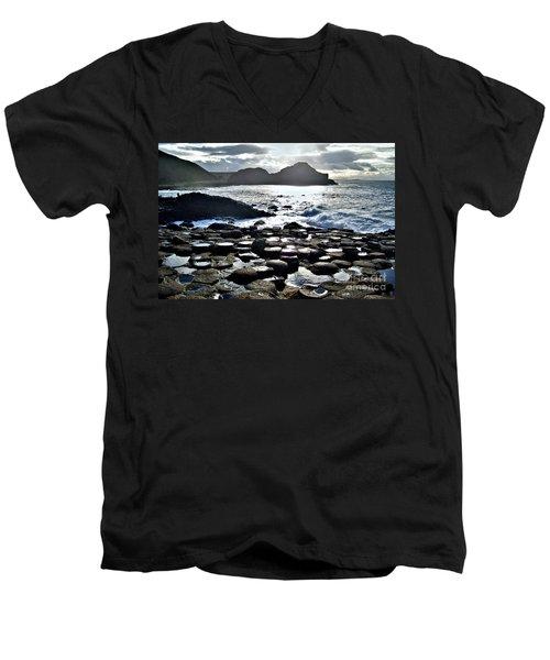 Giant's Causeway Sunset Men's V-Neck T-Shirt by Nina Ficur Feenan