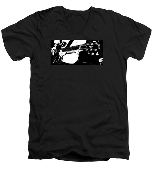 Gibson Guitar Graphic Men's V-Neck T-Shirt by Chris Berry