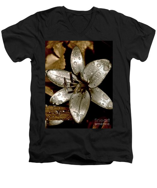 Gilded  Lilies 2 Men's V-Neck T-Shirt by Linda Bianic