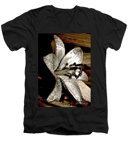 Gilded Lilies 3 Men's V-Neck T-Shirt by Linda Bianic