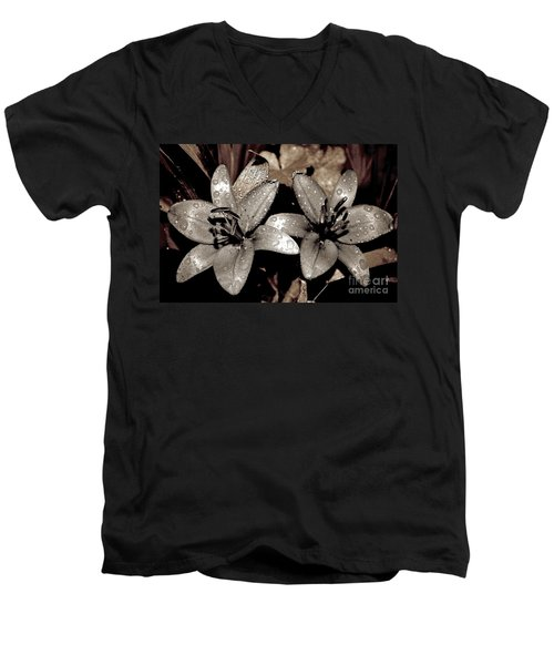 Gilded Lilies Men's V-Neck T-Shirt by Linda Bianic