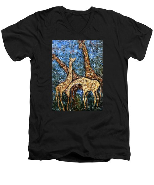 Men's V-Neck T-Shirt featuring the painting Giraffe Family by Xueling Zou