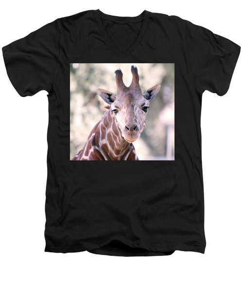 Men's V-Neck T-Shirt featuring the pyrography Giraffe Staring  by Shoal Hollingsworth