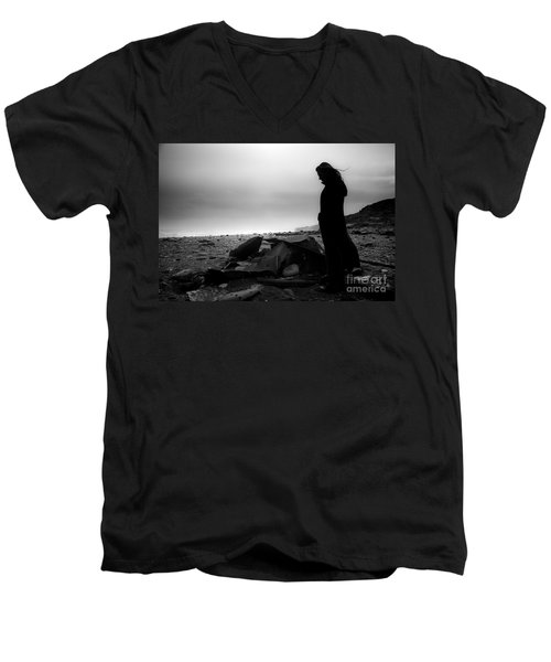 Men's V-Neck T-Shirt featuring the photograph Girl On The Beach by Gunnar Orn Arnason