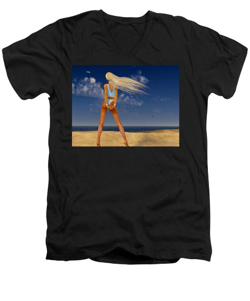 Girl On The Beach... Men's V-Neck T-Shirt
