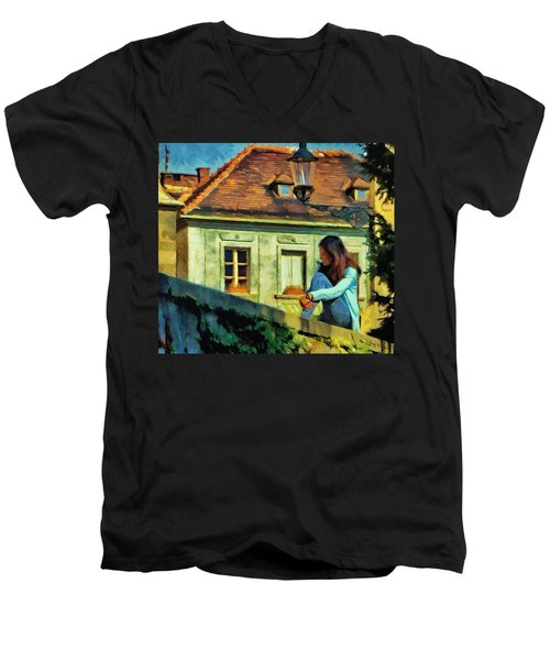 Men's V-Neck T-Shirt featuring the painting Girl Posing On Stone Wall by Jeff Kolker