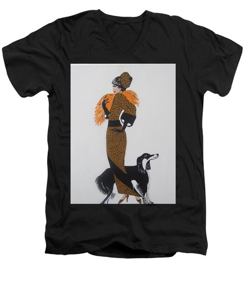 Men's V-Neck T-Shirt featuring the painting Girl With Orange Fur by Nora Shepley