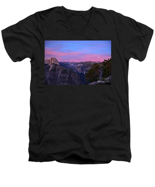 Glacier Point With Sunset And Moonrise Men's V-Neck T-Shirt