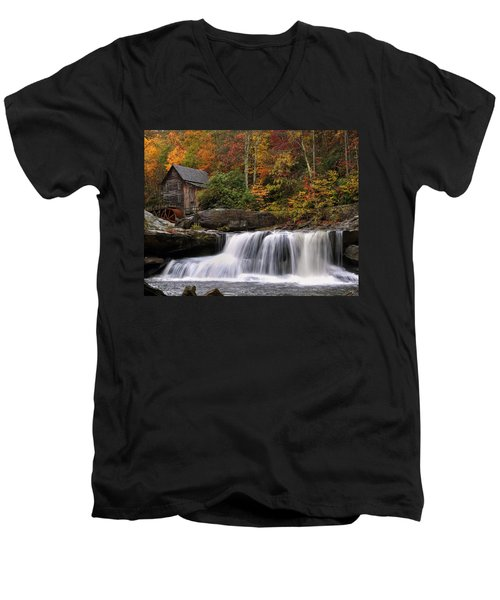 Glade Creek Grist Mill - Photo Men's V-Neck T-Shirt by Chris Flees