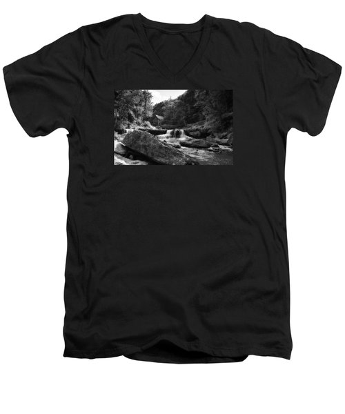 Glade Creek Waterfall Men's V-Neck T-Shirt by Shelly Gunderson