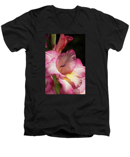 Gladiolus In Pink Men's V-Neck T-Shirt by Joy Watson