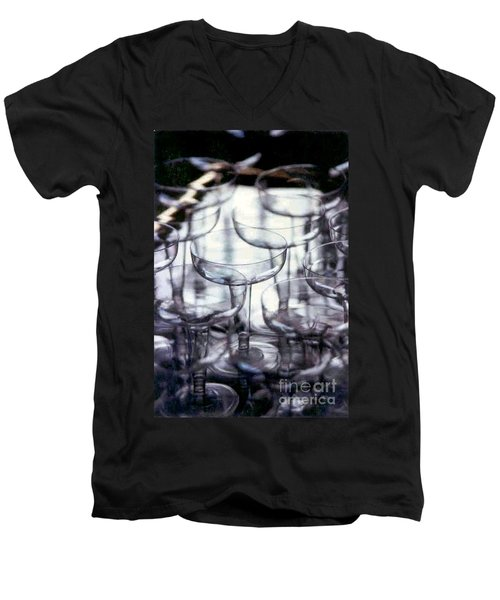 Men's V-Neck T-Shirt featuring the photograph New Orleans Toast To The New Year 2017 Abstract by Michael Hoard