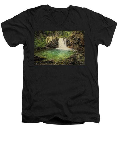 Men's V-Neck T-Shirt featuring the photograph Glory Pool by Priscilla Burgers