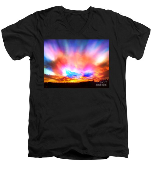 Glory Sunset Men's V-Neck T-Shirt by Patricia L Davidson