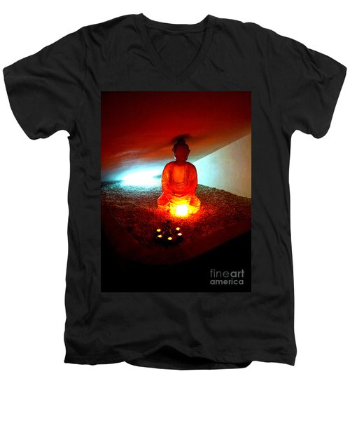 Glowing Buddha Men's V-Neck T-Shirt
