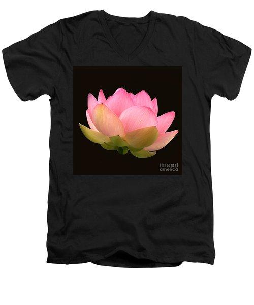 Glowing Lotus Square Frame Men's V-Neck T-Shirt