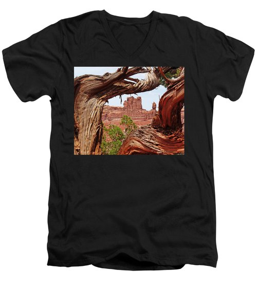 Men's V-Neck T-Shirt featuring the photograph Gnarly Tree by Alan Socolik