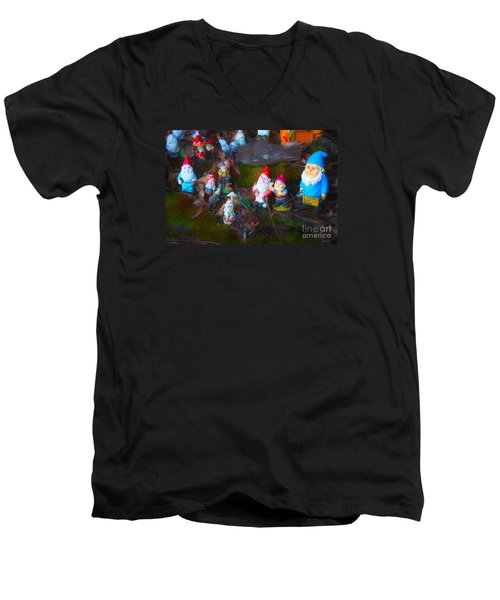 Men's V-Neck T-Shirt featuring the photograph Gnomes On The Range by Cassandra Buckley
