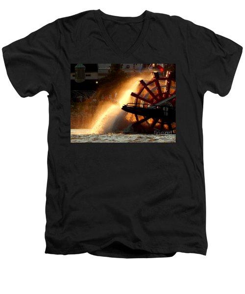 New Orleans Steamboat Natchez On The Mississippi River Men's V-Neck T-Shirt by Michael Hoard