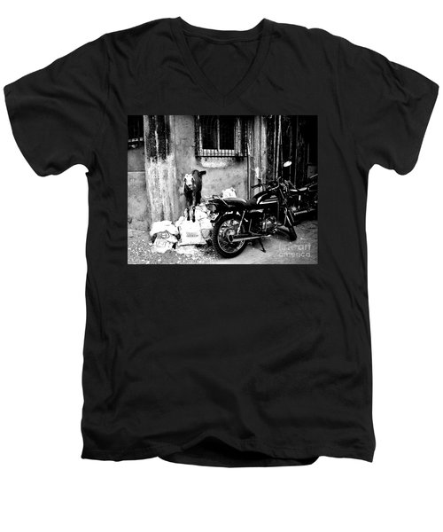 Goatercycle Black And White Men's V-Neck T-Shirt