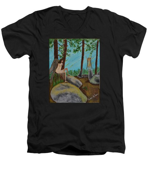 God Calls His Angels Men's V-Neck T-Shirt by Cassie Sears