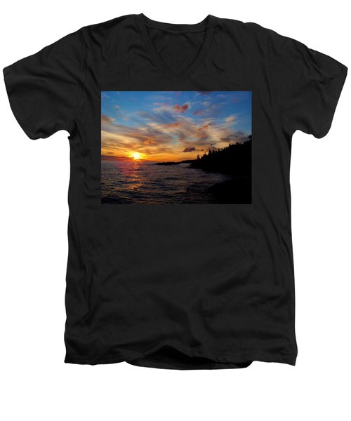 Men's V-Neck T-Shirt featuring the photograph God's Morning Painting by Bonfire Photography