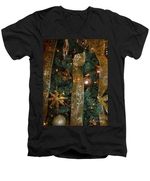Gold Tones Tree Men's V-Neck T-Shirt by Barbie Corbett-Newmin
