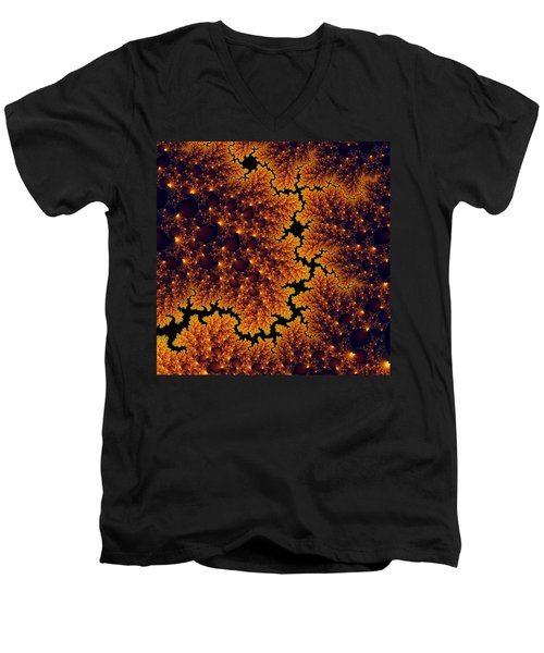 Golden And Black Fractal Universe Men's V-Neck T-Shirt