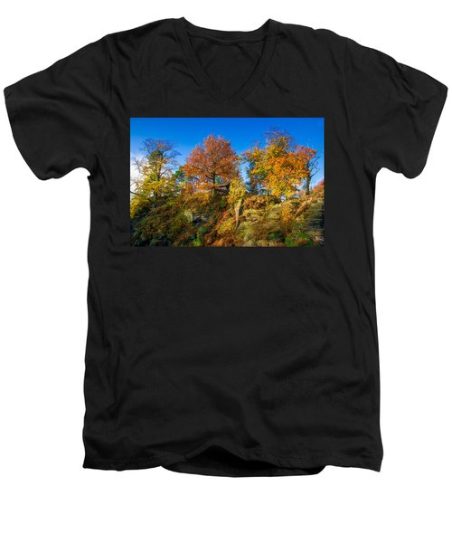 Golden Autumn On Neurathen Castle Men's V-Neck T-Shirt