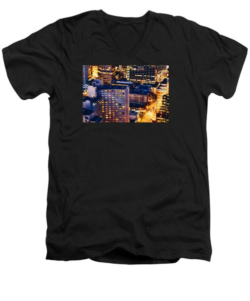 Men's V-Neck T-Shirt featuring the photograph Golden Cityscape Vancouver Mcccl by Amyn Nasser