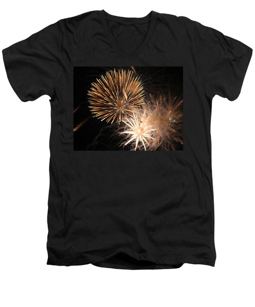 Golden Fireworks Men's V-Neck T-Shirt by Rowana Ray