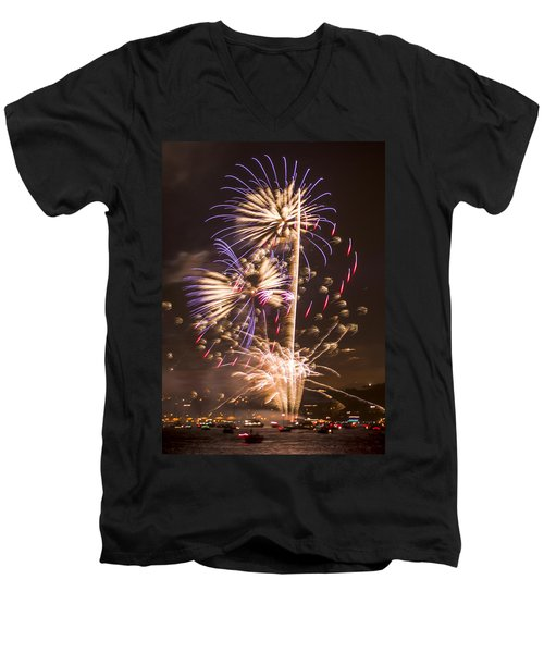 Golden Gate Bridge 75th Anniversary Fireworks 10 Men's V-Neck T-Shirt