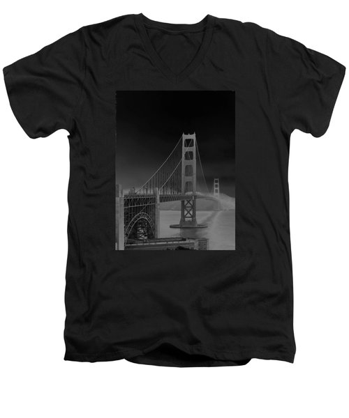 Golden Gate Bridge To Sausalito Men's V-Neck T-Shirt by Connie Fox