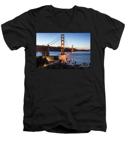 Golden Gate Night Men's V-Neck T-Shirt