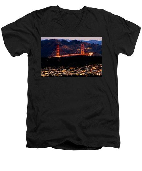 Golden Gate Sunrise Men's V-Neck T-Shirt