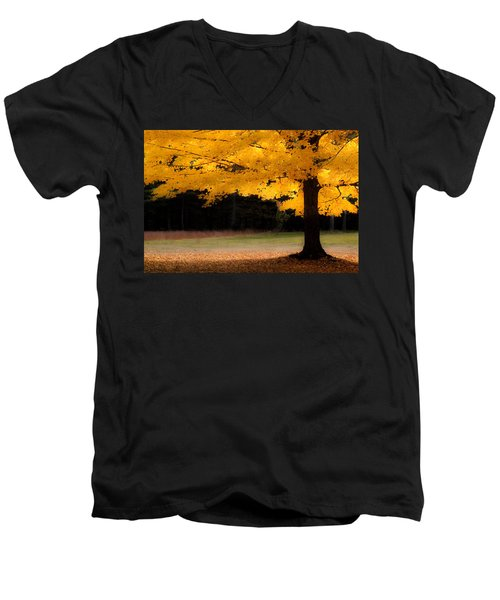 Golden Glow Of Autumn Fall Colors Men's V-Neck T-Shirt by Jeff Folger