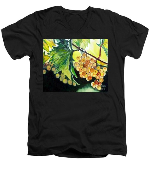 Men's V-Neck T-Shirt featuring the painting Golden Grapes by Julie Brugh Riffey