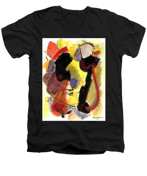Men's V-Neck T-Shirt featuring the painting Golden Moon 2 by Stephen Lucas